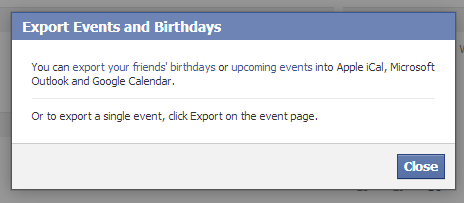 Export Events and Birthdays Facebook