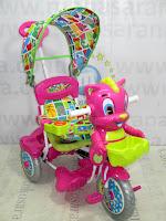 Sepeda Roda Tiga Royal RY9982CJ Baby Tom Dobel Musik Jok Kain Kanopi Pink