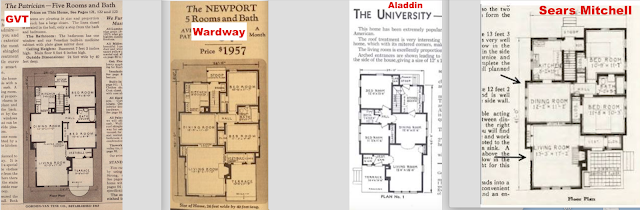 four catalog floor plans compared - all are lookalikes to Sears Mitchell house model