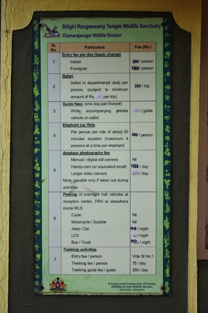 Entry fee and other tourist fees on display at K.Gudi, BRT tiger reserve, Karnataka