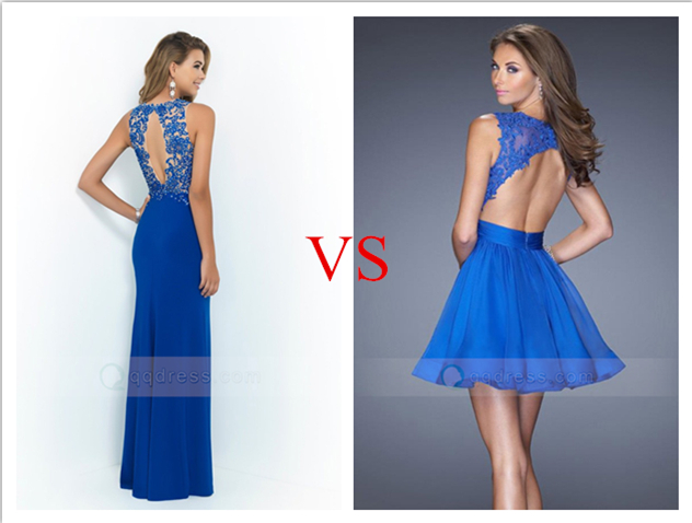 Open Back Long VS Short Prom Dress - Blue