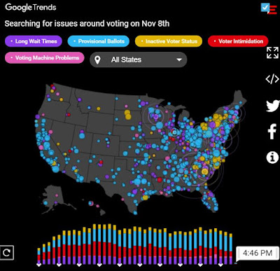 Map of Google Search Trends on Election Day