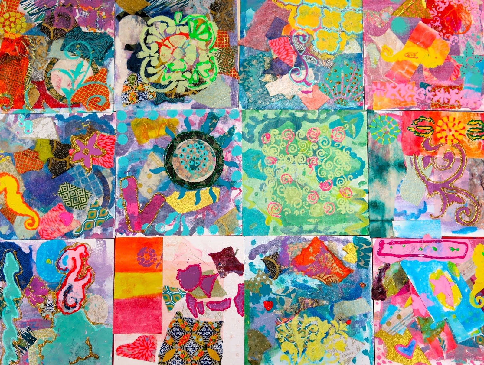 Cassie Stephens In The Art Room Abstract Painting With Fourth Grade