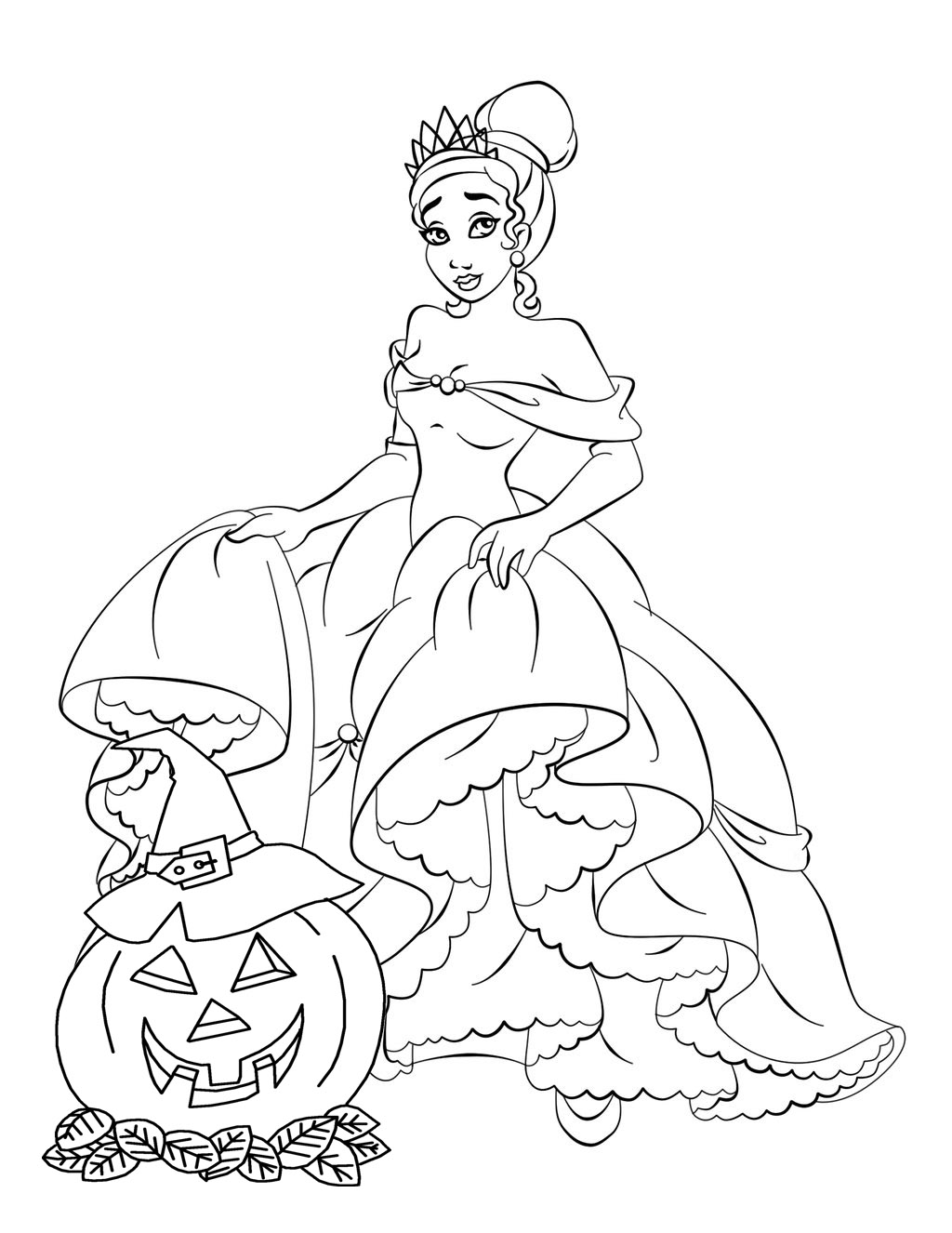 princess halloween coloring pages - halloween colorings
