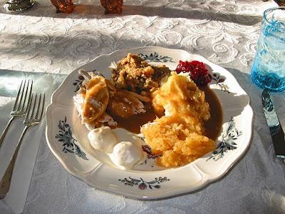 High-Carb Thanksgiving Dinner: turkey, dressing, potatoes, cranberry sauce