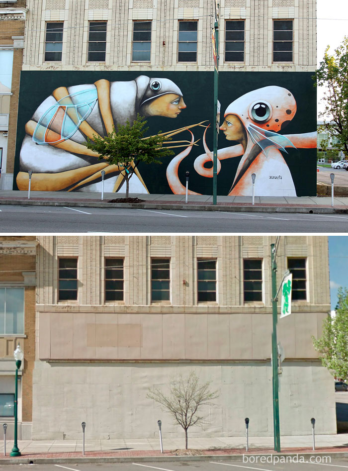 10+ Incredible Before & After Street Art Transformations That'll Make You Say Wow - Surreal Mural In Fort Smith, Arkansas, USA