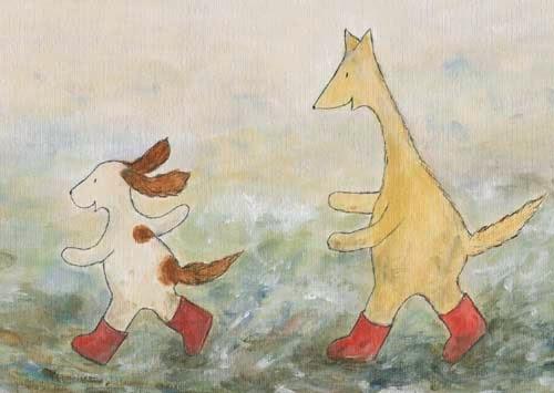 Postcard illustration of Hulmu Hukka and Haukku Spaniel running in wet snow