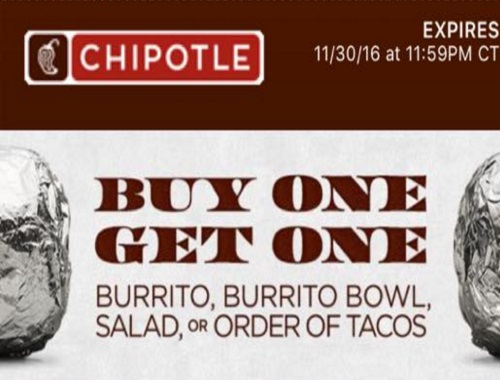 Chipotle Mexican Grill BOGO Buy 1 Get 1 Free Burrito Coupon