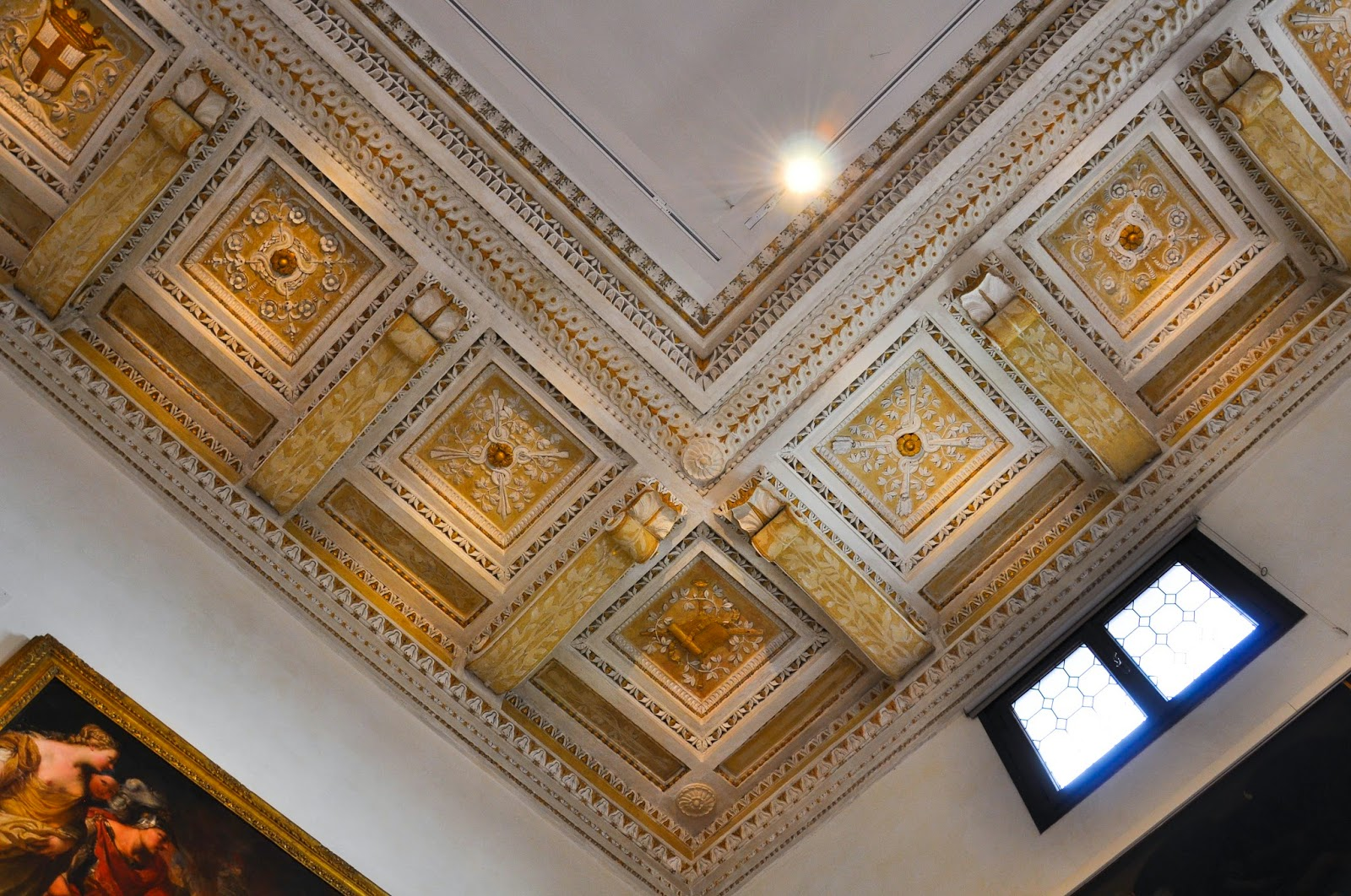 ornate ceiling main room Civic Art Gallery Palazzo Chiericati Vicenza Italy