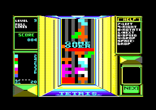Captura de pantalla con el final, Game Over de Tetris, ELORG, Mirrorsoft, Amstrad CPC 464, 1988