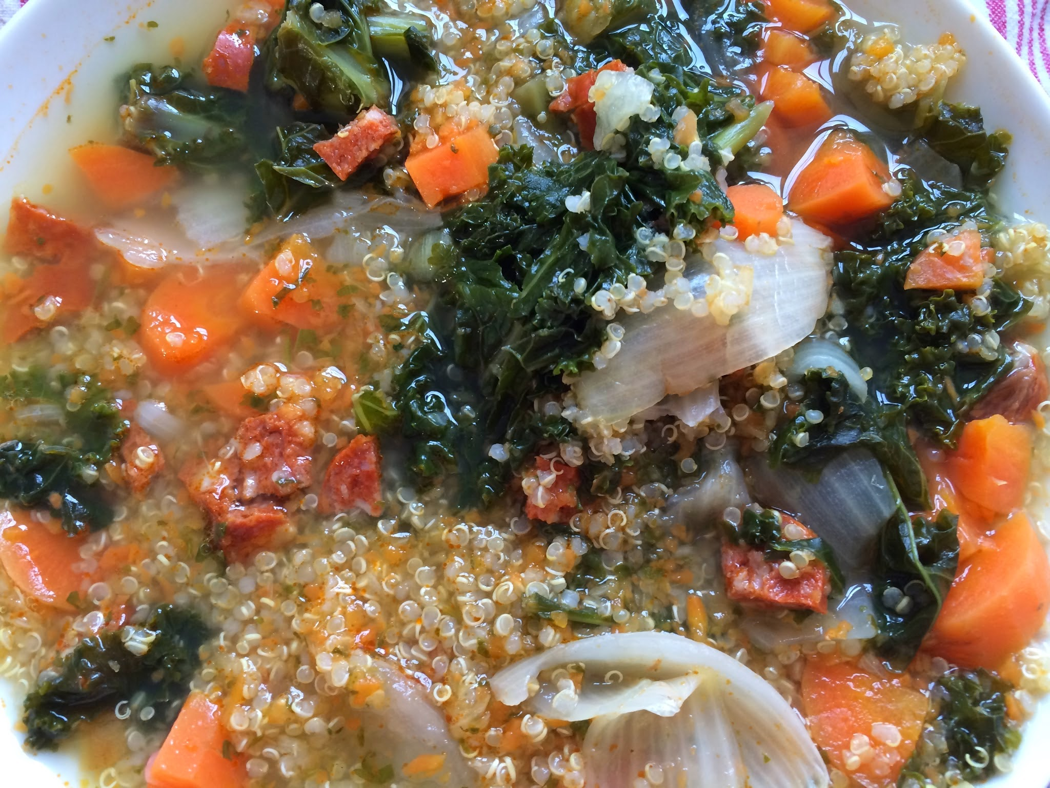 Feisty Tapas Thermomix Caldo cooked from scratch in the Thermomix, with kale, carrots and chorizo