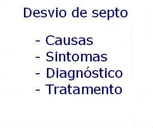 Desvio de septo causas sintomas diagnóstico tratamento prevenção riscos complicações