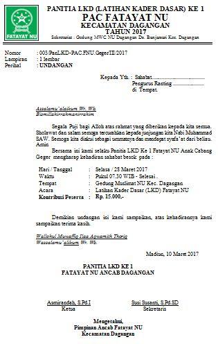 surat undangan pelatihan kader fatayat