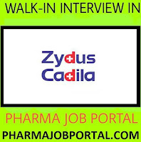 Zydus Walk In Interview For Multiple Openings at 28 October