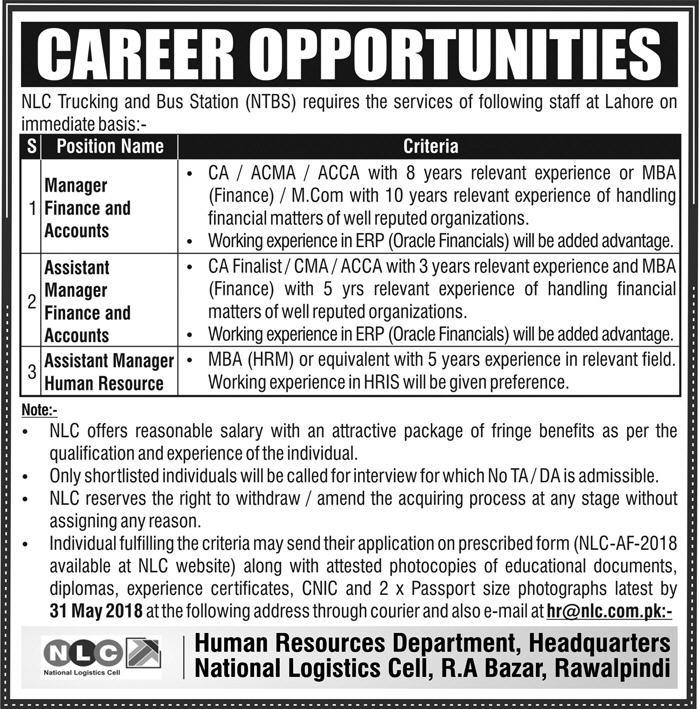 Jobs In National Logistics Cell NLC for Professionals May 2018