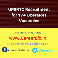 UPSRTC Recruitment for 174 Operators Vacancies