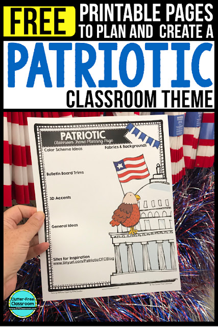 PATRIOTIC Theme Classroom: If you're an elementary teacher who is thinking about a American, America, Social Studies, flags, or an americana theme then this classroom decor blog post is for you. It'll make decorating for back to school fun and easy. It's full of photos, tips, ideas, and free printables to plan and organize how you will set up your classroom and decorate your bulletin boards for the first day of school and beyond.