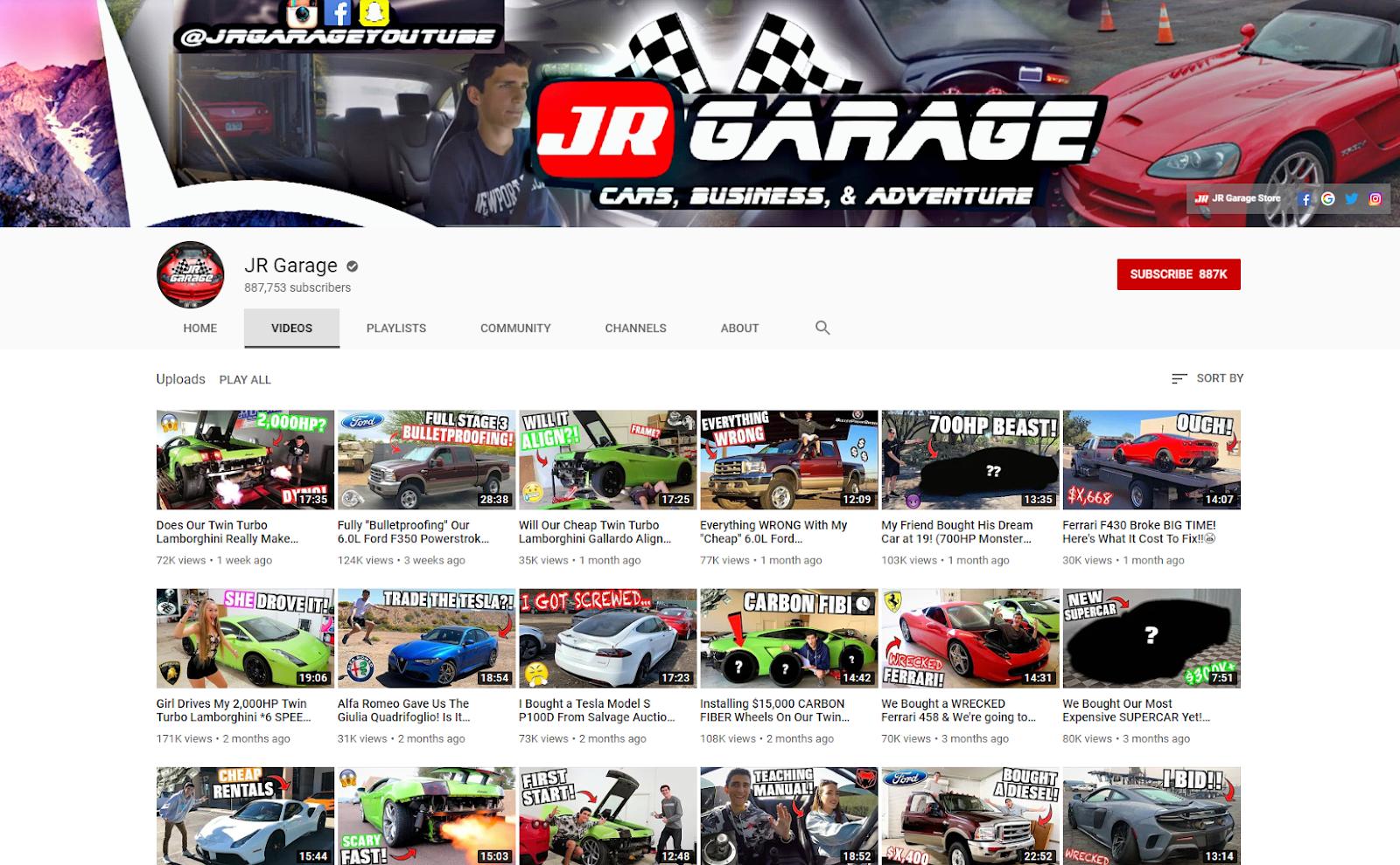 JR Garage YouTube jrgaragestore .com