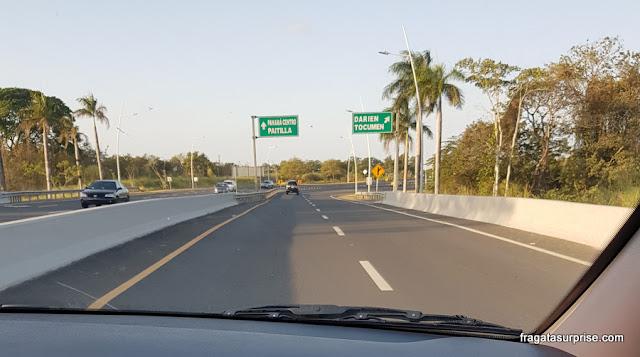 Caminho do Aeroporto de Tocumen ao Centro da Cidade do Panamá