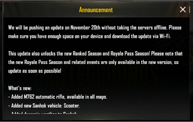 Announcement in-game