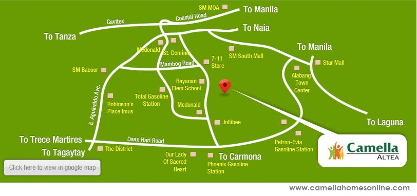 Vicinity Map Location Bella - Camella Altea | Crown Asia Prime House for Sale Bacoor Cavite