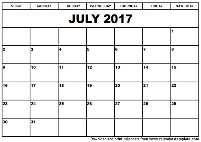 July 2017 Calendar, July 2017 Calendar Printable, Calendar July 2017, July 2017 Calendar PDF, July 2017 Calendar Word