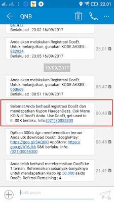 Bukti Pendaftaran berhasil dari Aplikasi DooEt