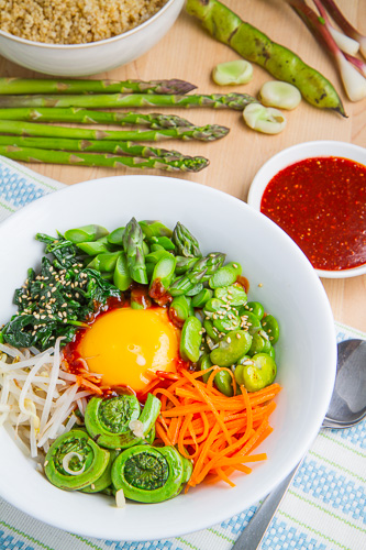 Spring Quinoa Bibimbap with Asparagus, Fiddleheads, Fava Bean and Ramps
