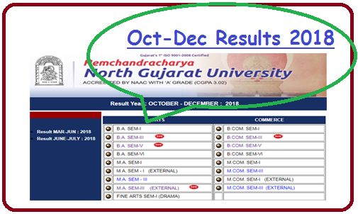 HNGU Result Oct Dec 2018