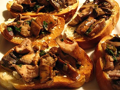 Wild Mushroom Tapas Served on Crusty Bread with Goat Cheese