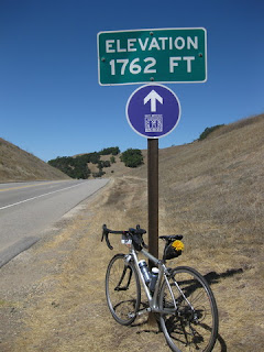 pep's bike at the summit, elevation 1762 feet, along Highway 46 above Cambria, California