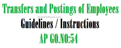 Transfers and Postings of Employees – Guidelines / Instructions-AP GO.NO:54