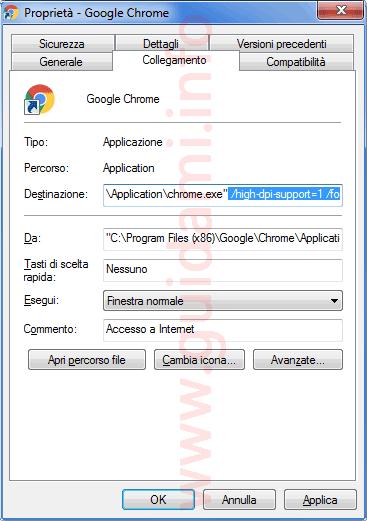 Icona avvio Chrome stringa dpi