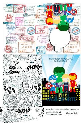 Imprimible con forma de Pasaporte de Los Vengadores Chibi:
