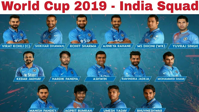 WC 2019 Indian Team Squad
