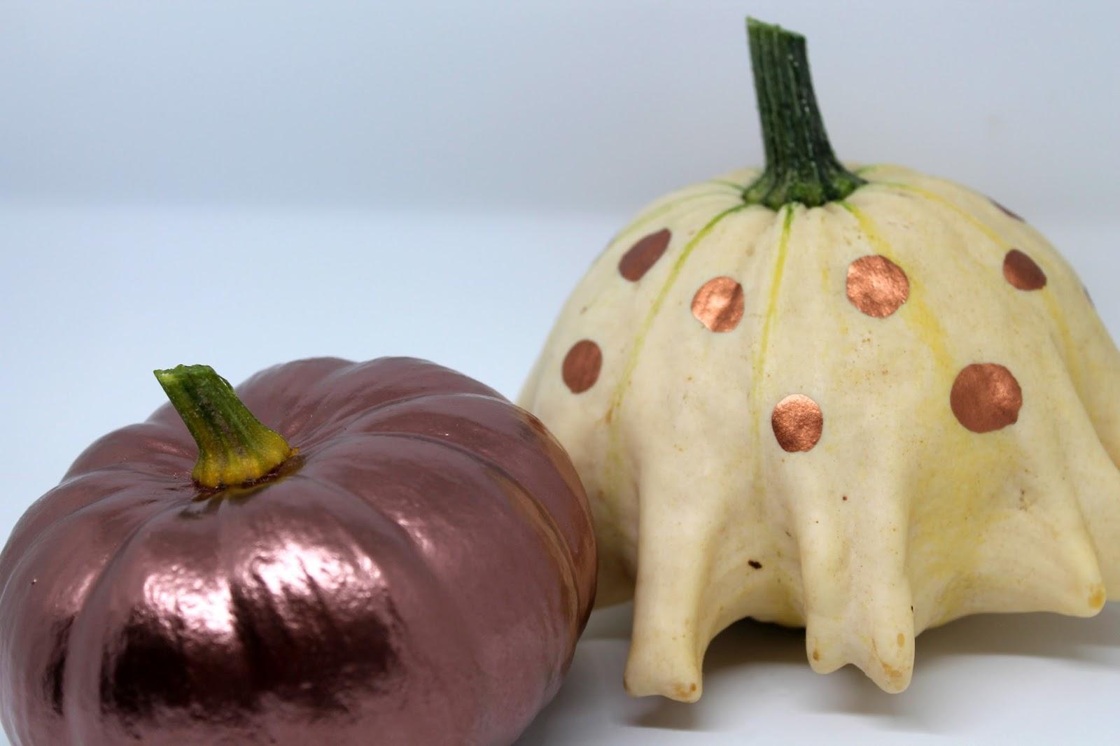 DIY, Basteln: Kürbisse in Kupfer in Dekoration, Herbstdekoration, Basteln mit Naturmaterialien - DIYCarinchen