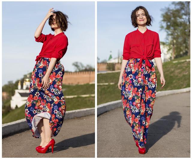 длинное платье цветочным