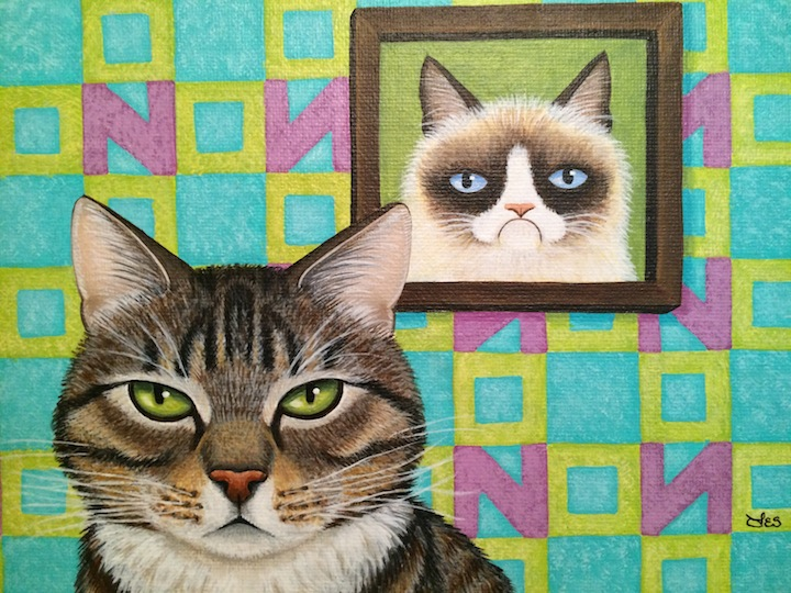 Painting of tabby cat by Leslie Cobb proceeds to help shelters
