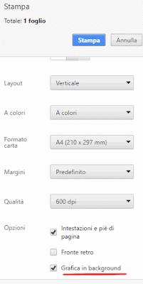 Come stampare una pagina con sfondo ed immagini con chrome