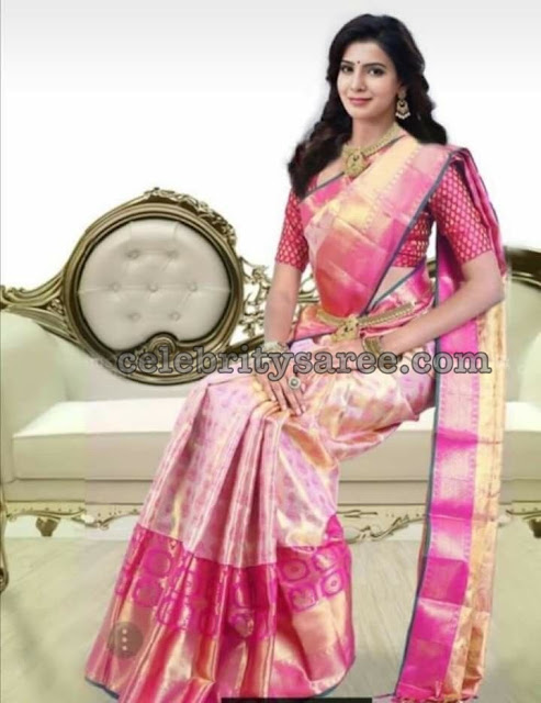 Samantha Baby Pink Bridal Saree