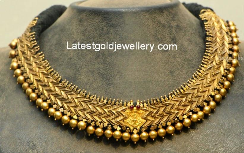Dull Finish Antique Gold Choker Latest Gold Jewellery