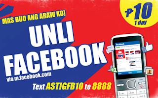 ASTIGFB10 TM Unli Facebook Promo for only 10 Pesos