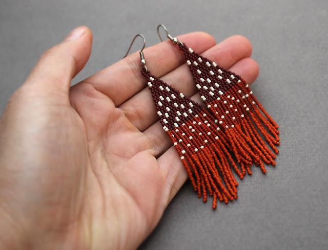 купить коричнево рыжие серьги из японского бисера качественная бижутерия ручной работы цена