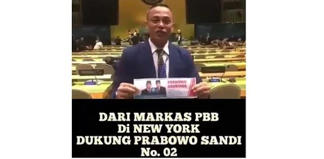 Pendukung Berulah di Markas PBB, Dukungan Prabowo pun Viral di Sosmed