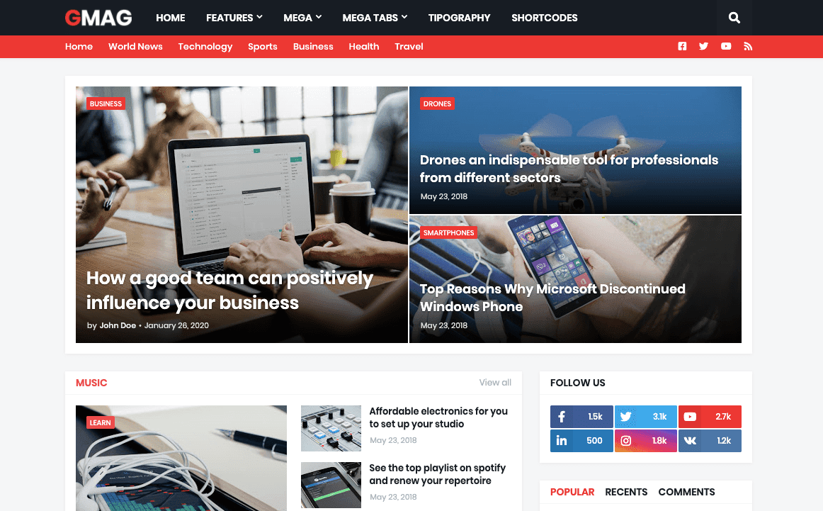 Gmag - Responsive News And Magazine Blogger Theme