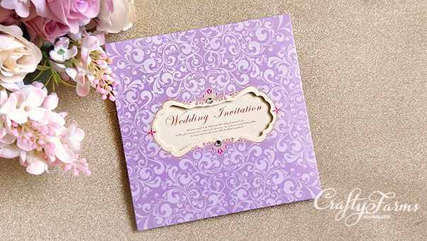 Lilac Purple Petal Fold Pocket Wedding Cards with Rhinestones, Kad Jemputan Kahwin,