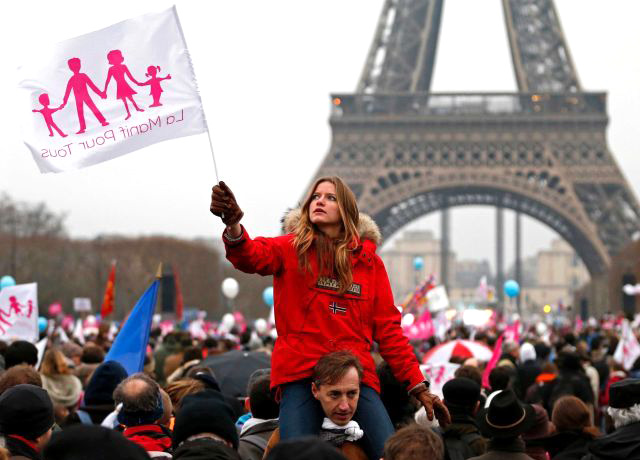Non-gay-marriage demonstration in Paris