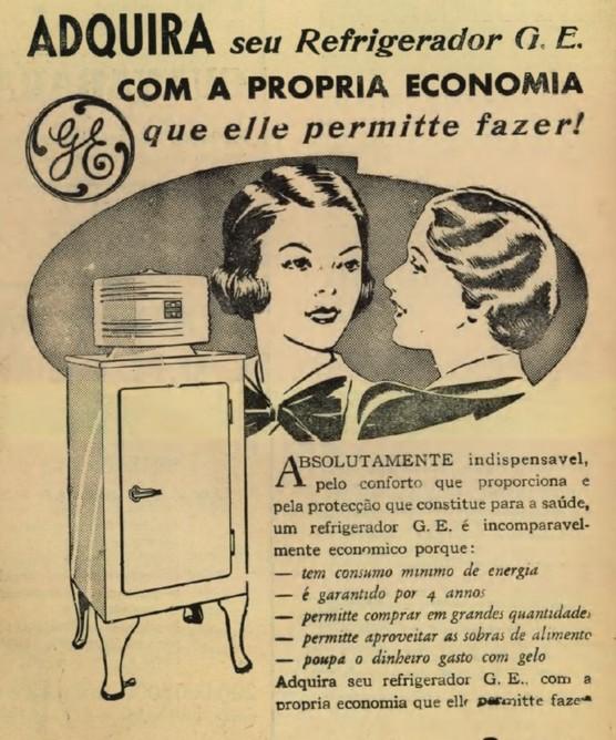 Propaganda do refrigerador General Eletric em 1937 para popularizar o produto nos lares