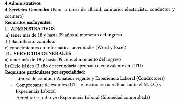 Llamado mdn administrativos y servicios generales - Albaniles en montevideo ...