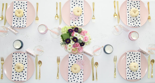 Pretty Pink Friendsgiving Tablescape by The Celebration Stylist